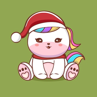 Cute unicorn character illustration with merry christmas greetings premium vector
