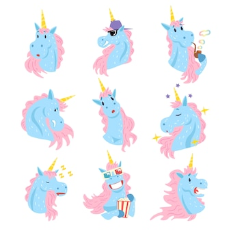 Cute unicorn character set, funny humanized trees with different emotions colorful hand drawn  illustrations on a white background