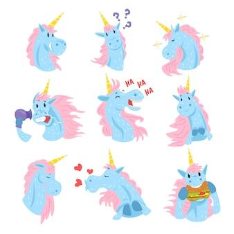かわいいユニコーンキャラクターセット、さまざまな感情を持つ面白い神話上の動物は、白地にカラフルなイラストを設定