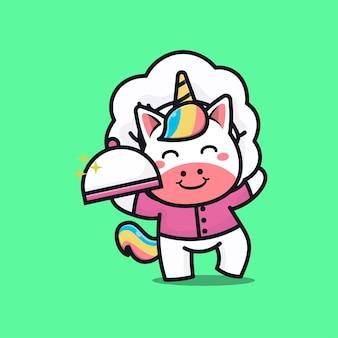 Cute unicorn chef cartoon   illustration