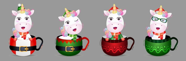 Cute unicorn christmas characters collection with a hat