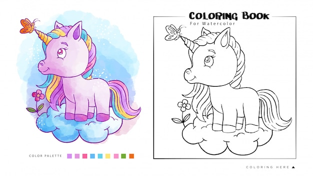 Cute unicorn on the cloud with butterfly watercolor coloring book