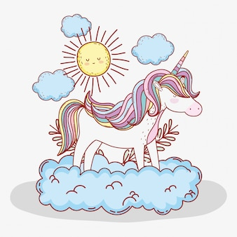 Cute unicorn in the cloud with sun and plants leaves