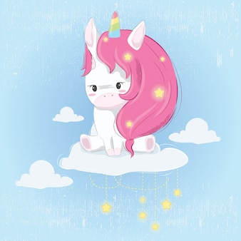 Cute unicorn on the cloud