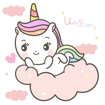 Cute unicorn on cloud