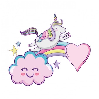 Cute unicorn and clouds