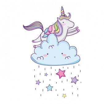 Cute unicorn and clouds