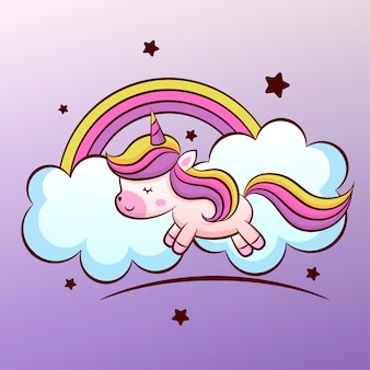 Cute unicorn in the clouds