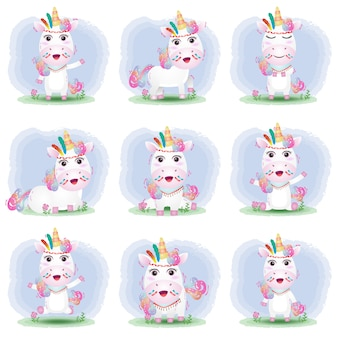 Cute unicorn collection with apache costume