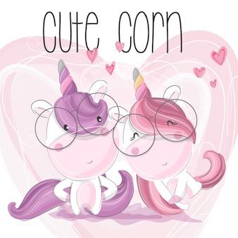 Cute unicorn couple hand draw illustration-vector