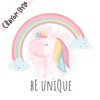 Cute unicorn crayon style illustration for kids