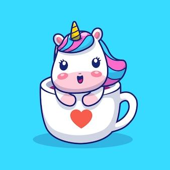 Cute unicorn on cup love  illustration. unicorn mascot cartoon character. animal  concept isolated
