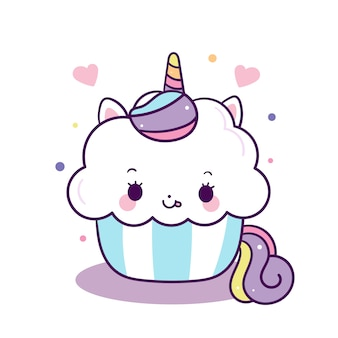 Cute unicorn cupcake vector