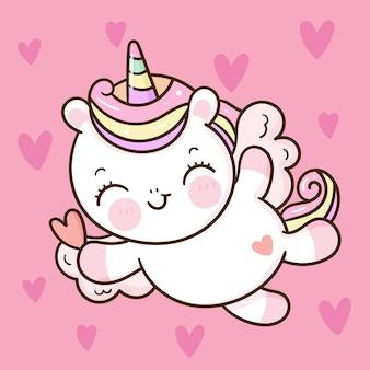 Милый единорог купидон пегас летать по небу каваи животных день святого валентина