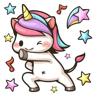 Cute unicorn dancing cartoon color image