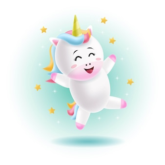 Cute unicorn dancing with the stars