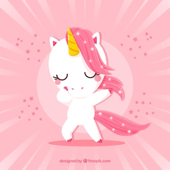 Cute unicorn doing dabbing movement