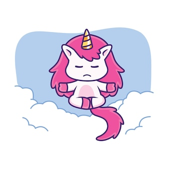 Cute unicorn doing yoga in sky
