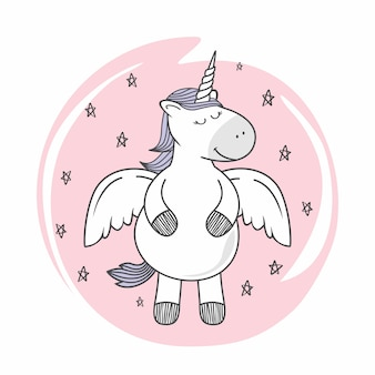 Cute unicorn doodle cartoon pegasus