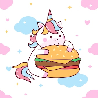 Cute unicorn eat burger seamless pattern