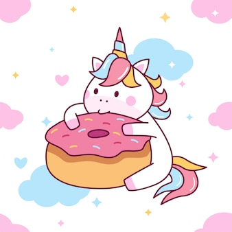 Cute unicorn eat donut seamless pattern