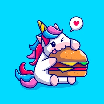 Милый единорог ест гамбургер мультипликационный персонаж. изолированная еда для животных.