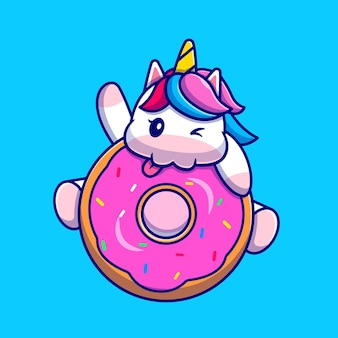 Simpatico unicorno che mangia il personaggio dei cartoni animati di ciambella. cibo per animali isolato.
