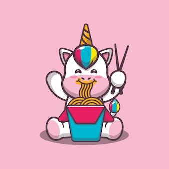 かわいいユニコーン食べる麺漫画ベクトルイラスト