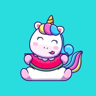Cute unicorn eating watermelon cartoon