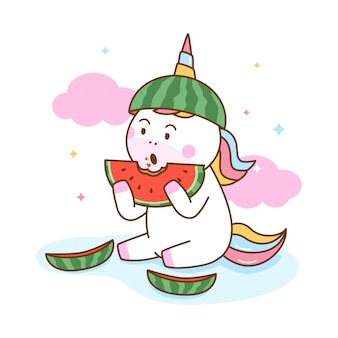 Cute unicorn eating watermelon