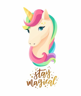 Cute unicorn face in flat style with hand lettering text stay magical.