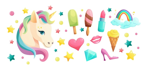 Cute unicorn face in flat style with sweet girlish elements. ice cream, lipstick, cupcake, lips, heart, crystal, lollipop, rainbow.