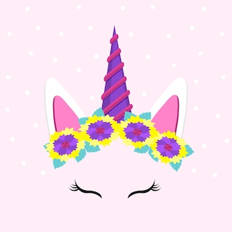 Cute unicorn face funny character with flowers vector illustration