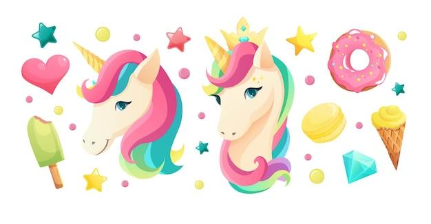 甘い女の子らしい要素とフラットスタイルのかわいいユニコーンの顔アイスクリーム唇ハートクリスタル虹