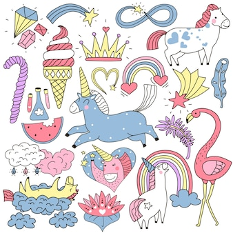 Cute unicorn and fairy elements colorful doodle set