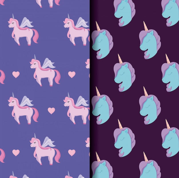 Cute unicorn of fairy tale patterns