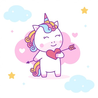 Cute unicorn falling in love