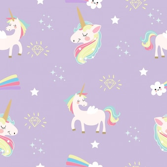 Cute unicorn and fantasy elements pattern