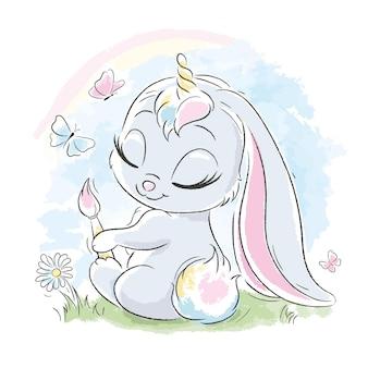 Cute unicorn. fashion illustration drawing