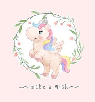 Cute unicorn in flower frame illustration