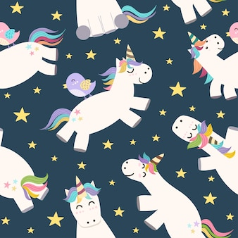 Cute unicorn flying in the sky seamless pattern