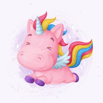 Cute unicorn flying. watercolor illustration