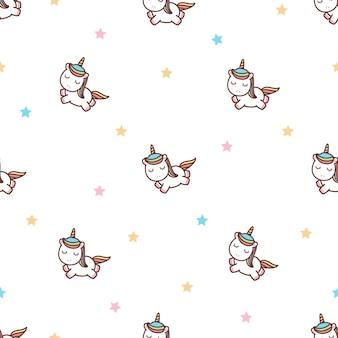 Cute unicorn flying with stars cartoon seamless pattern