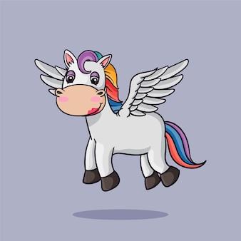 날개 만화 스타일로 비행 하는 귀여운 유니콘