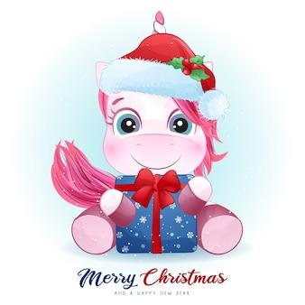 水彩イラストとクリスマスの日のかわいいユニコーン