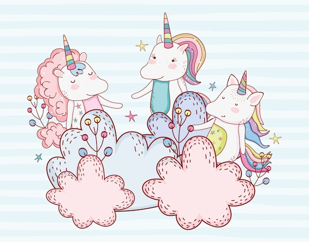 Cute unicorn friends with plants in the clouds