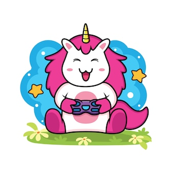 Cute unicorn gaming cartoon