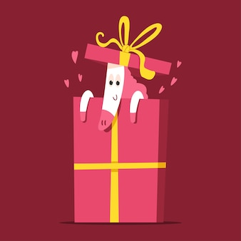 Cute unicorn in gift box  cartoon character isolated on background.