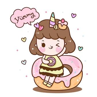 Cute unicorn girl  on donut cartoon