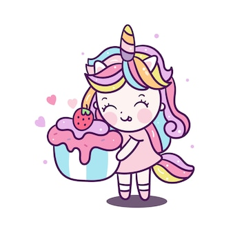 Cute unicorn girl holding cupcake